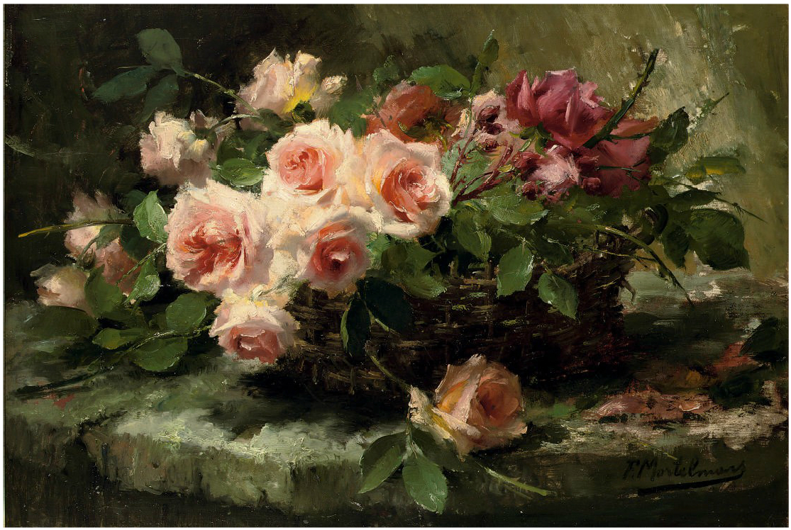 Frans_Mortelmans_-_Pink_roses_in_a_basket